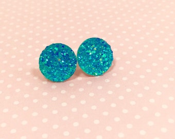 Aqua Druzy Studs, Druzy Stud Earrings, Affordable Jewelry, Turquoise Stud Earrings, Teal Stud Earring, Glitter Stud Earrings (SE4)
