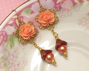 Peach Flower Earrings, Peach Pearl Earrings, Czech Glass Flower Earrings, Estate Style Jewelry, Handmade By KreatedByKelly