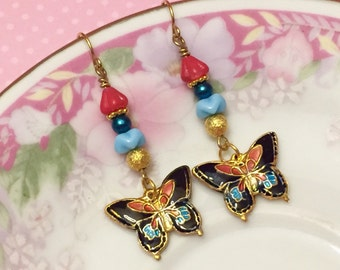 Butterfly Earrings, Cloisonne Earrings, Woodland Earrings, Floral Dangle Earrings in Blue Red Gold, Handmade by KreatedByKelly