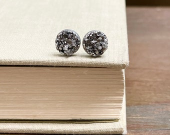 Sparkly Little Faux Druzy Stud Earrings in Gunmetal Silver with Stainless Steel Posts