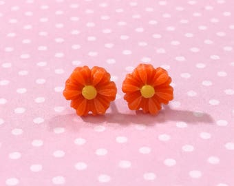 Little Orange Gerbera Daisy Stud Earrings with Surgical Steel Posts, Small Carved Spring Easter Daisies for Flower Girls and Weddings (SE18)