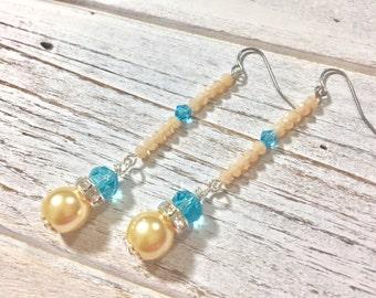 Long Dangle Earrings, Unique Pearl Earrings, Aqua Glass Earrings, Sparkling Rhinestone Earrings, Bohemian Earrings, Funky Earrings