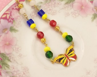 Butterfly Necklace, Enamel Necklace, Vintage Assemblage Necklace, Hippie Boho Necklace, Yellow Butterfly, Red Gold Blue, KreatedByKelly