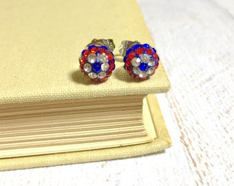 Rhinestone Ball Studs, Fourth of July Stud Earrings, Independence Day Earrings, Red White and Blue, Patriotic Earrings (HJ4)