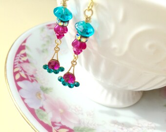 Rhinestone Earrings, Estate Style Beaded Earrings in Turquoise and Fuchsia, Edwardian Earrings, Vintage Rhinestone Earrings, Victorian