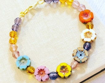 Colorful Czech Glass Spring Flower Beaded Bracelet with Lobster Clasp