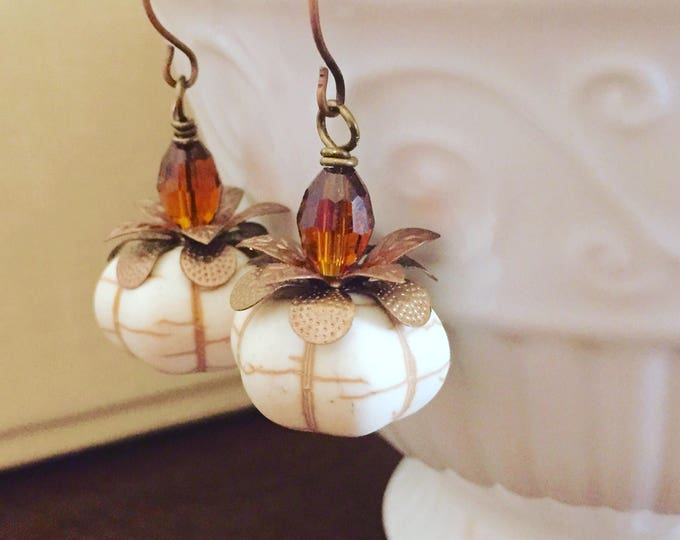 Featured listing image: Off White Synthetic Turquoise Howlite Pumpkin Bead Earrings with Copper Toned Accents and Brown Stem for Thanksgiving or Fall