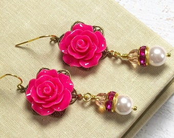 Bright Pink Carved Flower on Filigree Earrings with Pearls and Rhinestone Dangle, Stainless Steel Ear Wires (DE4)