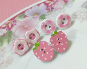 Pink Button Stud Earring Set in Polka Dotted Strawberry, Plaid and Daisy with Surgical Steel Posts