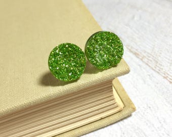 Green Druzy Studs, Green Glitter Studs, Green Stud Earrings, Green Drusy Studs, Druzy Jewelry, Surgical Steel Studs, KreatedByKelly (SE9)