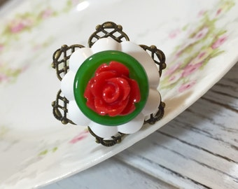 Christmas Statement Ring, Red Rose Ring, White Flower Ring, Christmas Flower Ring, Filigree Xmas Ring in Red Green White, KreatedbyKelly