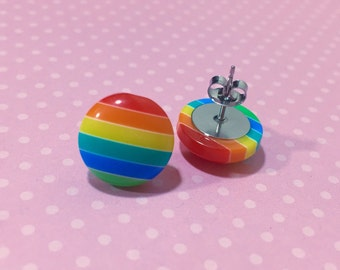 Rainbow Stripes Earrings, Chunky Button Studs, Rainbow Stud Earrings, Colorful Striped Studs, Stainless Steel Studs, KreatedByKelly (SE2)