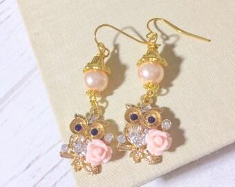 Owl Earrings, Rhinestone Owls with Pink Flowers, Woodland Earrings, Bird Earrings, Pretty Dangle Earrings, Rhinestone Owl Earrings (DE1)