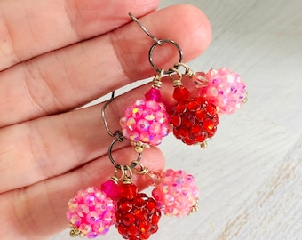 Sparkling Resin Rhinestone Cluster Dangle Earrings in Pink and Red for Valentines Day, Surgical Steel Ear Wires