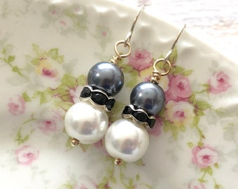 Classic Gray, White and Black Pearl and Rhinestone Short Dangle Earrings with Surgical Steel Ear Wires
