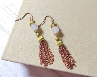 Mixed Metal Earrings, Beaded Tassel Earrings, Assemblage Jewelry, White Earrings, Copper Earrings, Repurposed Jewelry, Assemblage Earrings