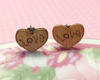 Wood Heart Earrings . Valentine's Day Earrings, Love Stamped Earrings, Natural Wood Earrings, Bridesmaid Gift Earrings, KreatedByKelly