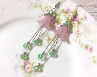 Pink Flower Earrings, Long Spring Earrings, Vintage Lucite Flower Earrings, Green Bead Cluster Earrings, Pretty Woodland Earrings