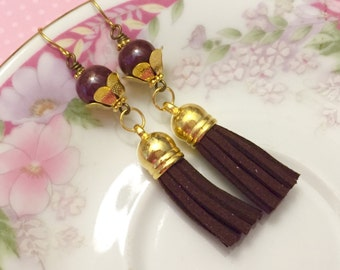 Leather Tassel Earrings, Brown Tassel Earrings, Hippie Bohemian Earrings, Ceramic Bead Jewelry, Trendy Earrings, KreatedByKelly