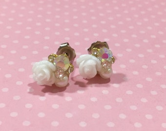 Bridal Flower Stud Earrings, Bead Cluster Stud Earring, Tiny White Flower Studs, Rhinestone Flower Studs, Fancy Floral Studs, KreatedbyKelly