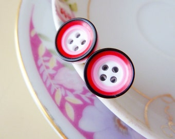 Super Cute Post Earrings, Mod Circles Stud Earrings, Sewing Button Earrings in Pink Red Black, Surgical Steel Hypoallergenic Earrings