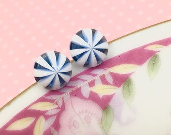 Icy Blue Studs, Blue Peppermint Studs, Peppermint Earrings, Blue and White Earrings, Kawaii Ear Studs, Sensitive Ear Studs (SE4)