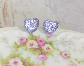 Little Lavender Sparkling Bumpy Druzy Valentine's Day Heart Stud Earrings with Surgical Steel Posts (SE13)