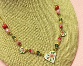 Heart Charm Necklace, Valentine Necklace, Pink Flower Necklace, Layering Necklace, Beaded Necklace, Red Floral Necklace, KreatedByKelly