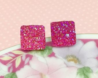 Pink Druzy Studs, Druzy Stud Earrings, Glittery Pink Studs, Hypoallergenic Studs, Pink Stud Earrings, Resin Studs (SE4)