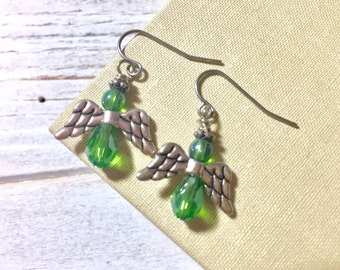 Dainty Angel Earrings, Green Angel Earrings, Glass Beaded Angel Earrings with Tibetan Silver Wings, Tiny Angel Earrings, Surgical Steel