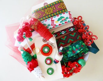 DIY Christmas Inspiration Kit, Vintage Christmas Ribbons Lot, Stocking Projects, Red Green Santa Snowflakes, Jacquard Ribbon
