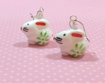 Painted Porcelain Bunny Earrings, Kawaii Rabbit Earrings, Easter Earrings, Spring Jewelry, Cute Bunny Dangle Earrings, KreatedbyKelly (DE1)
