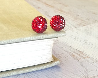 Little Red Sparkling Bumpy Druzy Round Circle Stud Earrings with Surgical Steel Posts (SE13)