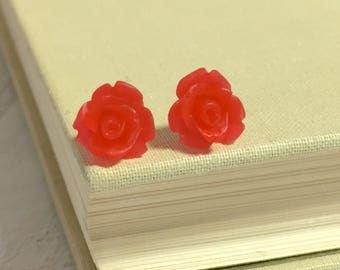 Red Gummy Rose Studs, Small Red Flower Studs, Red Icing Rose Studs, Red Flower Earrings, Bright Red Rose Studs, Surgical Steel Studs (SE8)