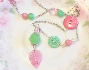 Pink and Mint Green Leaf Fairy Woodland Layering Lariat Style Y Necklace, Beaded Button Jewelry