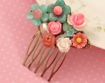 Assemblage Cluster Collage Hair Comb, Pink Aqua Flower Garden, Floral Statement Hair Comb, Pink Wedding Hair Comb, KreatedByKelly