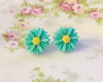 Aqua Daisy Studs, Aqua Flower Earrings, Daisy Stud Earrings, Bridesmaid Gift Idea, Stainless Steel, KreatedByKelly (SE8)