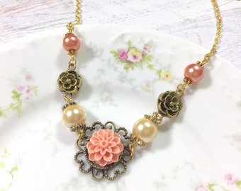 Peach Chrysanthemum Necklace, Beaded Pearl Necklace, Woodland Necklace, Romantic Flower Necklace, Vintage Style Necklace, KreatedbyKelly