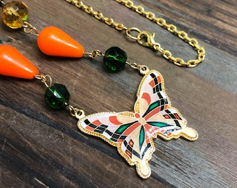 Bohemian Woodland Beaded Necklace with Vintage Enameled Metal Butterfly in Orange, Green and Brown