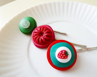 Bobby Pin Set, Vintage Button Bobby Pins, Strawberry Hair Clip, Retro Hair Accessories, Repurposed Button Hair Jewelry SALE