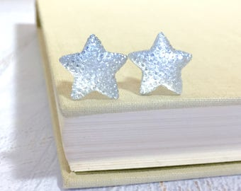 Large Clear Star Stud Earrings in Bumpy Shimmering Celestial Sparkling Glittery Faux Druzy, Surgical Steel