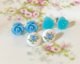 Stud Earring Set, Blue Flower Stud Earrings Set, Blue Rose Studs, Vintage Limoges, Sparkly Heart Studs, Floral Studs, KreatedByKelly (ES1)