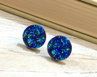 Blue Druzy Studs, Celestial Starry Night Studs, Blue Earrings, Blue Drusy Studs, Druzy Jewelry, Surgical Steel Studs, KreatedByKelly (SE5)