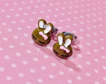 Tiny Rabbit Earrings, Easter Bunny Earrings, Chocolate Easter Bunny Stud, Brown Bunny Studs, Kawaii Earring, Easter Gift Idea