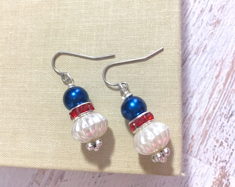 Rhinestone and Pearl Drop Earrings in Patriotic Red White and Blue for 4th of July Independence Day Surgical Steel
