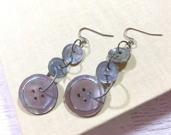 Dangle Earrings Made With Gray Vintage Mother of Pearl Buttons, Repurposed Button Jewelry, Surgical Steel, KreatedbyKelly