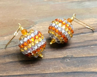 Candy Corn Earrings, Chunky Yellow Orange and White Sparkling Rhinestone Studded Halloween Earrings with Kidney Surgical Steel Ear Wires