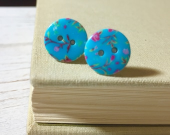 Floral Button Stud Earrings, Flower Earrings, Turquoise Button Studs, Pink Flower Studs, Shiny Floral Studs, Limoges Style Studs (SE2)