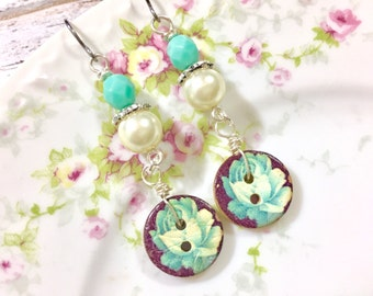 Button Earrings, Painted Flower Button Earrings, Aqua Flower Earrings, Button Jewelry, Pearl Earrings, Surgical Steel Earrings