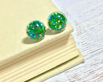 Fun Sparkling Glitter Resin Festive Christmas Tree Green with Colorful Ornament Style Sparkles Stud Earrings with Surgical Steel Posts